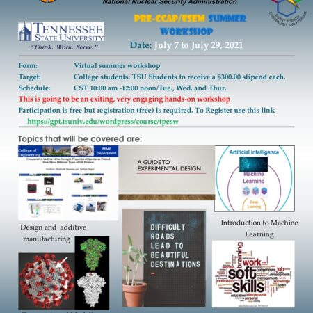 TSU PRE-CCAP/ESEM Summer Workshop