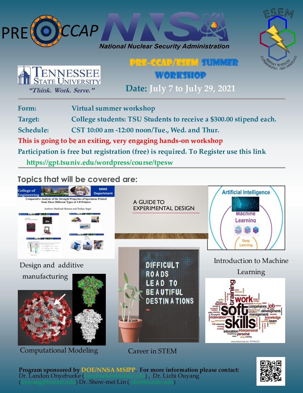 2021 Summer Workshop Flier – College Students – mod -1